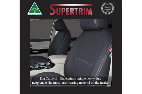 Seat Covers FRONT Pair With Full-Length & Map Pockets Snug Fit Kia Carnival YP (2015 - 2020), Premium Neoprene (Automotive-Grade) 100% Waterproof