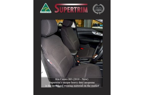 Kia Cerato Hatch (2018-NOW), FRONT Full-Back Seat Covers with Map Pockets, Snug Fit, Premium Neoprene (Automotive-Grade) 100% Waterproof
