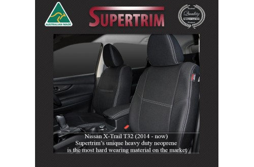 Nissan X-Trail T32 FRONT Full-back with Map Pockets Seat Covers Custom Fit (2014-Now), Premium Neoprene, Waterproof | Supertrim