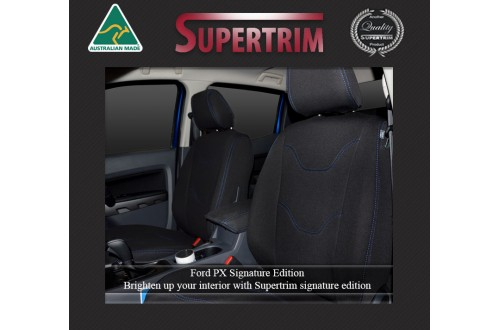 Ford Ranger PX MK.II (Sept 2015 - Now) FRONT Full-Back Seat Covers, Signature Edition, Snug Fit, Premium Neoprene (Automotive-Grade) 100% Waterproof