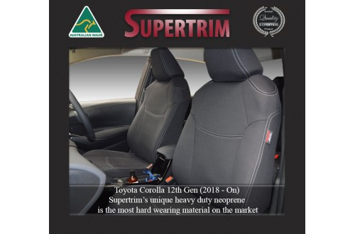 FRONT Seat Covers Full-Length with Map Pockets Custom Fit Toyota Corolla (Aug 2018 - Now), Premium Neoprene | Supertrim