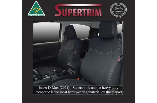 FRONT Seat Covers Full-back with Map Pockets Snug Fit for ISUZU D-MAX (2021-Now), Premium Neoprene (Automotive-Grade) 100% Waterproof
