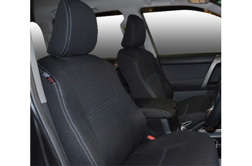 FRONT Seat Covers Snug Fit for Toyota Prado 150 series (Nov09 - Now), Charcoal black, Waterproof Premium quality Neoprene (Wetsuit), UV Treated