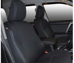 FRONT Seat Covers FULL BACK + MAP POCKET FRONT PAIR suitable for Toyota Prado 150 Series (Nov09 - Now), Snug fit Charcoal black, Waterproof Premium quality Neoprene (Wetsuit), UV Treated