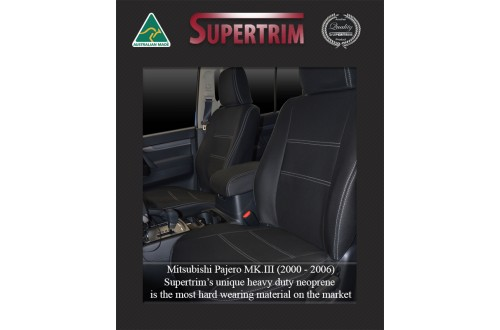 Seat Covers FRONT Pair Snug Fit For Mitsubishi Pajero (1999 - 2006), Premium Neoprene (Automotive-Grade) 100% Waterproof