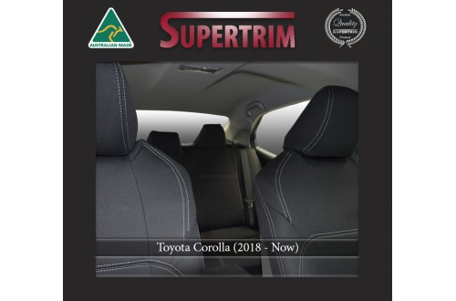 Toyota Corolla FRONT Seat Covers + Rear Full-length Cover Custom Fit, (Aug 2018 - Now), Premium Neoprene, Waterproof | Supertrim