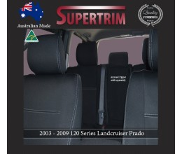 FRONT PAIR FULL BACK + MAP POCKETS & REAR seat covers for Toyota Prado 90 series, Snug Fit, Premium Neoprene (Automotive-Grade) 100% Waterproof